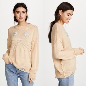 NWT Wildfox Whiskers Carine Distressed Sweater